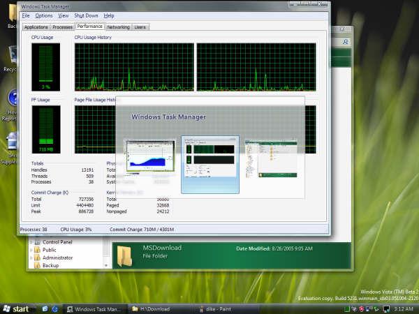 Beta OS 的熱鍵切換有預覽功能